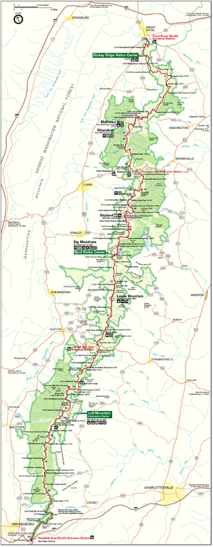 English: Shenandoah National Park Map