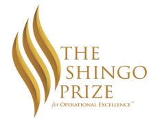 The Shingo Prize for Operational Excellence graphic that is etched into the physical trophies.