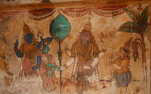 Teej - Wedding of Goddess Parvati and Lord Shiva Ji. Painting at Brihadeeswara Temple, Thanjavur
