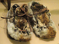 Shoes, guanaco skin, Selknam people (Ona) - South American objects in the American Museum of Natural History - DSC06055 (crop).jpg