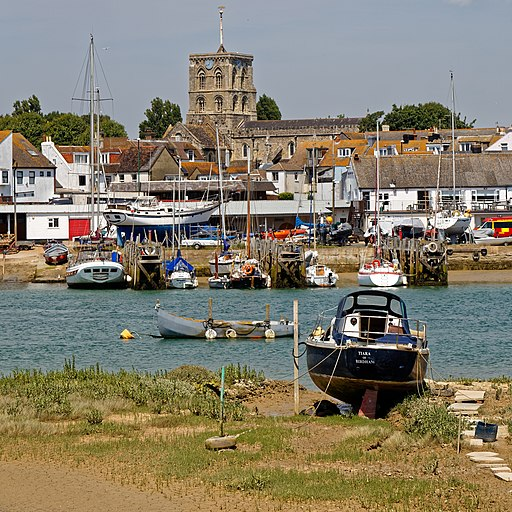 Shoreham-by-Sea harbour and St Mary de Haura Church, West Sussex, England
