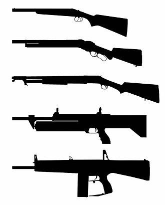 Shotgun - Different types of existing shotguns designs from top to bottom:   1. Break-action (Coach Gun)   2. Lever-action (Winchester M1887)   3. Pump-action (Winchester M1897)   4. Revolver-action (M1216)   5. Fully-automatic (Atchisson Assault Shotgun).
