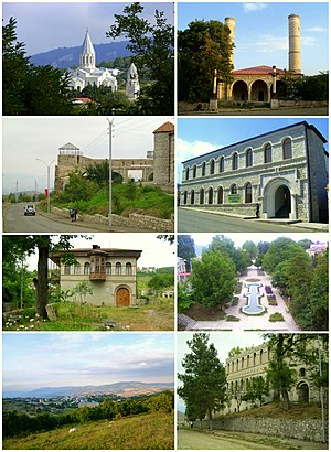 Shusha landmarks, from top left: Ghazanchetsots Cathedral • Yukhari Govhar Agha MosqueShusha fortress • National GalleryHistory Museum • Central parkShusha skyline • Natavan house