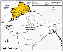 Ranjit Singh's Sikh Empire inside the red border