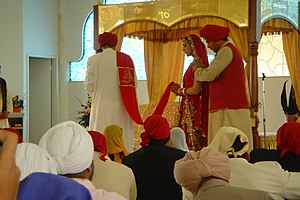 Guru Ram Das - The laavan verses of Guru Ram Das are recited with clockwise circumambulation in a Sikh wedding.