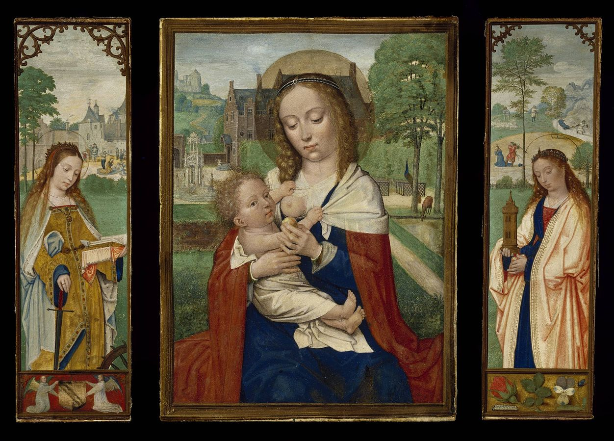 Triptych of Virgin and Child; Saints Catherine and Barbara