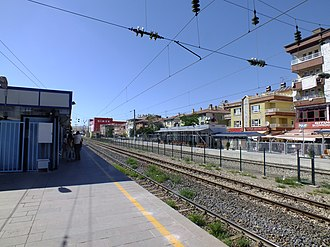 Sincan railway station - Looking at the high-speed train platform from the commuter train platform.