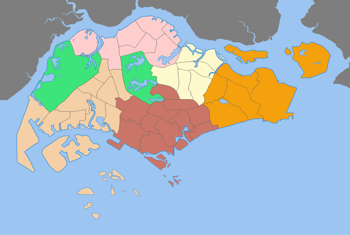Singapore On Map Of World.Regions Of Singapore Wikipedia