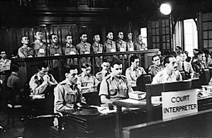 High Court (Singapore) - Imperial Japanese Army soldiers in the dock of a courtroom in the Old Supreme Court Building on 21 January 1946 during their trial for war crimes allegedly committed during the Japanese occupation of Singapore