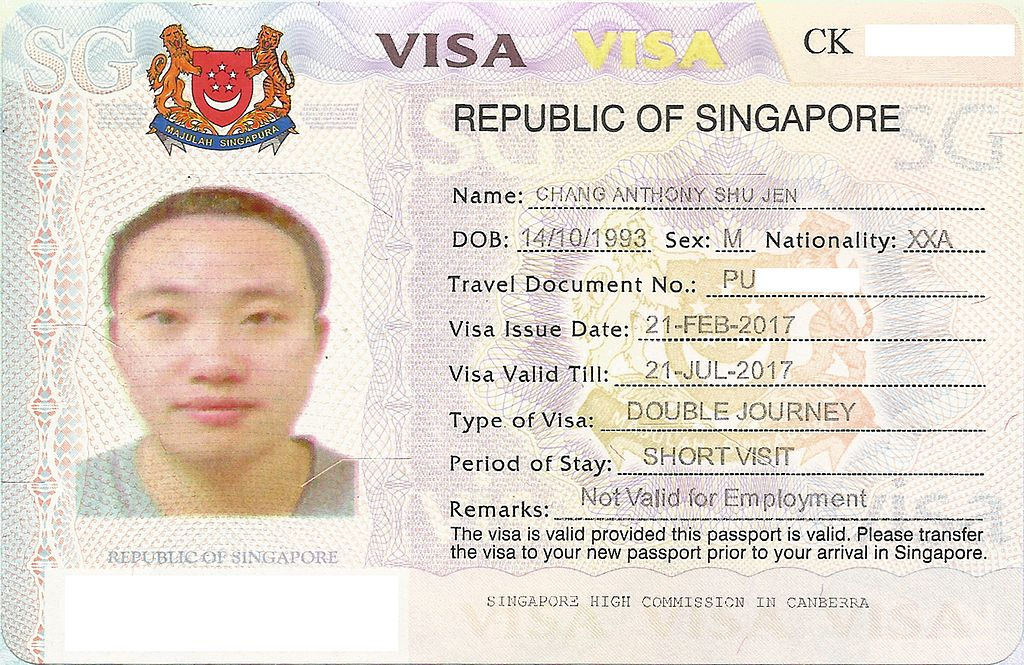 File Singapore Visa Issued To Stateless Person Jpg Wikipedia