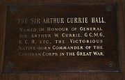 Sir Arthur Currie Hall plaque Currie Hall @ Royal Military College of Canada