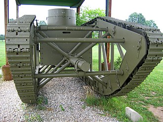 Skeleton tank - Bow of Skeleton Tank. Note boxy fighting compartment and machine gun turret.