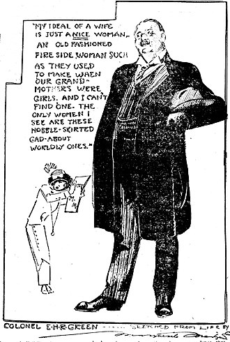 Hobble skirt - Journalist Marguerite Martyn drew this sketch of herself wearing a hobble skirt while interviewing millionaire Edward Howland Robinson Green in 1911, with a quotation from him.