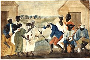 Historical racial and ethnic demographics of the United States - African American slaves on a South Carolina plantation (The Old Plantation, c. 1790)