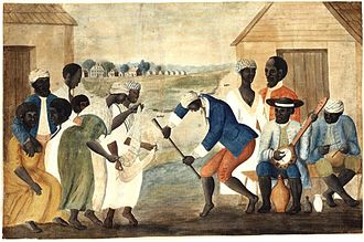 Jazz - In the late 18th-century painting The Old Plantation, African-Americans dance to banjo and percussion.