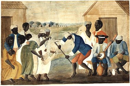 Slaves on a South Carolina plantation (The Old Plantation, c. 1790) Slave dance to banjo, 1780s.jpg
