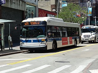 B25 (New York City bus) - A Broadway Junction-bound B25 bus in Downtown Brooklyn.