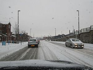 English: Snow on the roads Took this out the f...