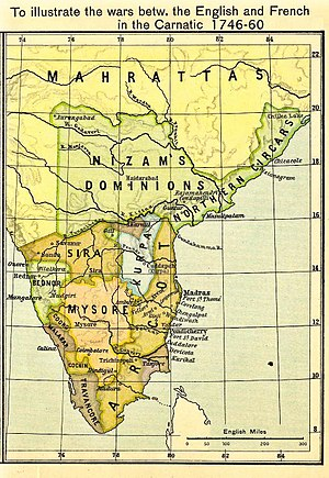 Chanda Sahib - A map of the Carnatic containing the territory of Tanjore ruled by the Nawab of the Carnatic, Chanda Sahib.