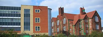 South and City College Birmingham - The college at Digbeth, occupying the old Floodgate Board School (right) and modern extension (left)