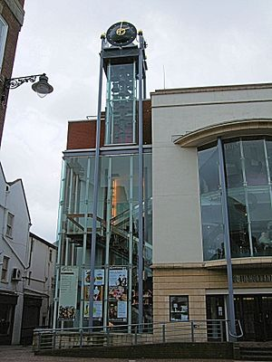 Spalding War Memorial - The 1922 clock and carillon, now housed in a glass tower attached to the South Holland Centre