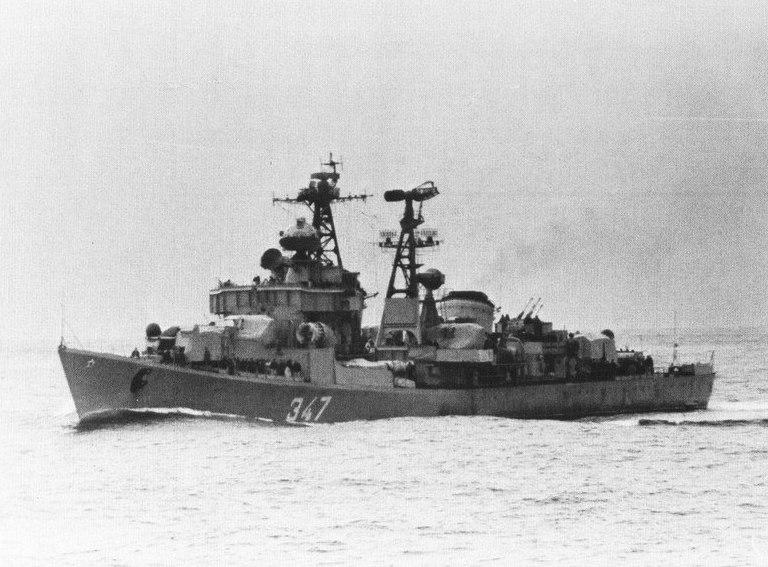 Soviet Spokoynyy-class destroyer underway c1973