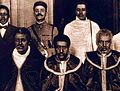 Special Commissioners from Empress Zauditu of Ethiopia sent to London. Lij Seifu Mikael (standing far left).jpg
