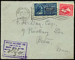 special delivery stamp on cover