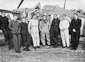Squadron Leader Douglas Bader with pilots of No. 242 Squadron in front of his Hawker Hurricane at Duxford, September 1940. CH1413.jpg