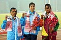 Srabani Nanda of India won Gold Medal, Dutee Chand of India won Silver Medal and R.M.R.K Rathnayaka of Sri Lanka won Bronze Medal in Women's 200m Run in Athletics, at the 12th South Asian Games-2016, in Guwahati.jpg