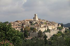 Panorama of Saint-Paul-de-Vence from the path of St. Clare in August 2012
