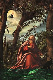 St. John at Patmos: the receiving of an apocalyptic vision.