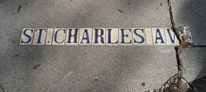 St. Charles Avenue - 19th century street-name tiles in sidewalk