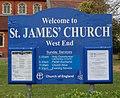 St James's Church, Church Hill, West End (May 2019) (Signboard).JPG