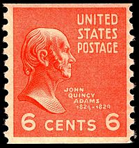 "A ""coil"" stamp showing John Quincy Adams (1767-1848). He was the sixth president of the United States from 1825 - 1829."