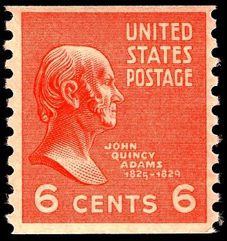Presidency of John Quincy Adams - John Quincy Adams appears on the 6-cent U.S. Postage stamp of the 1938 Presidential Series.