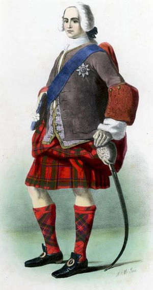 Clan Stewart - A Victorian era, romanticised depiction of a member of the clan by R. R. McIan, from The Clans of the Scottish Highlands, published in 1845.