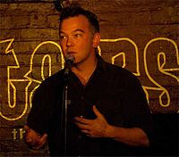 "Stewart Lee performing at ""Downstairs at the King's Head"" in London, UK."