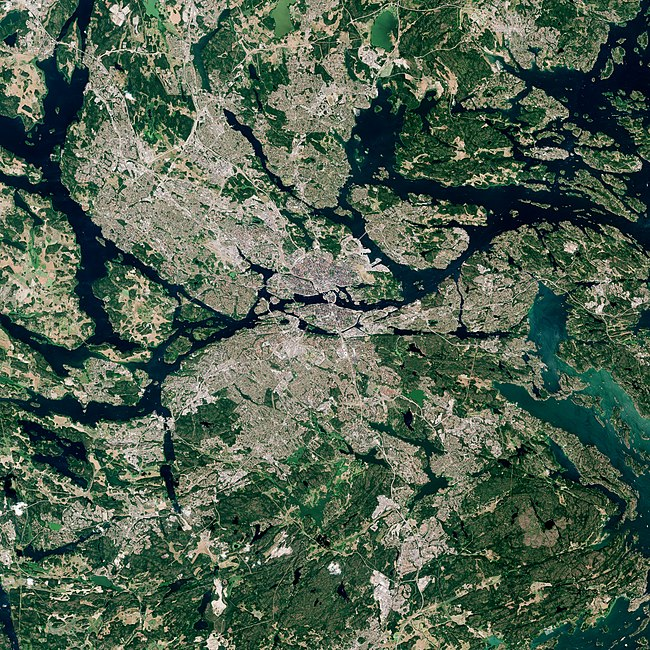 Satellite image of Stockholm in 2018 by ESA Stockholm by Sentinel-2, 2018-07-16.jpg