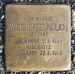 Photo of Walter Freundlich brass plaque