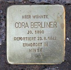 Photo of Cora Berliner brass plaque