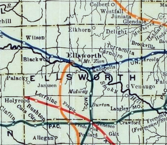 Ellsworth, Kansas - 1915-1918 Railroad Map of Ellsworth County
