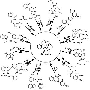 Strychnine total synthesis - Routes to Strychnine Many routes to Strychnine have been developed over the years. Some are chiral and some give racemic product.