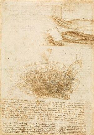 Vortex stretching - Studies of vortices in turbulent fluid motion by Leonardo da Vinci.
