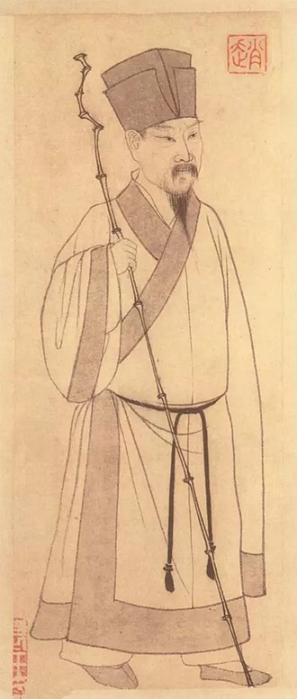 Crow Terrace Poetry Trial - An early Yuan Dynasty portrait of Su Shi, by Zhao Mengfu 趙孟頫, held at Taipei Palace Museum.