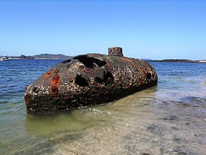 Isla San Telmo - Hull of Sub Marine Explorer wreck in the Panama Canal