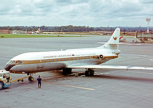 Libyan Airlines - Sud Caravelle of the Kingdom of Libya Airlines at London Gatwick in 1969.