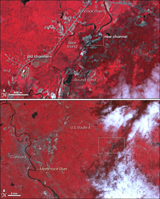 Suncook river course change from space
