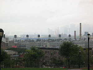 Industry City - Portion of Bush Terminal industrial lofts; distant view from Brooklyn's Sunset Park neighborhood