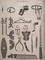 Surgical instruments and bandages, as well as a saw. Engravi Wellcome V0016386.jpg